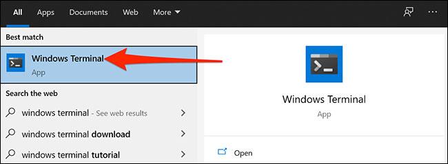 "Bấm vào ""Windows Terminal"""