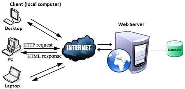 Web hoạt động theo định dạng client-server cơ bản của Internet