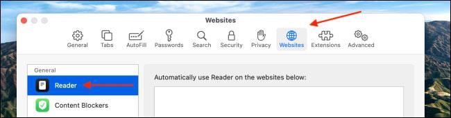 """Chọn tùy chọn """"Reader"""""""