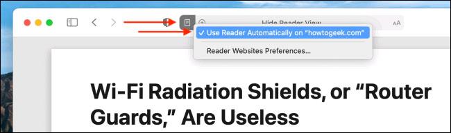 """Bỏ tích tùy chọn """"Use Reader View Automatically on (tên trang web)""""."""