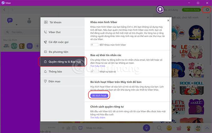 Đăng xuất Viber trên máy tính giao diện tiếng Việt