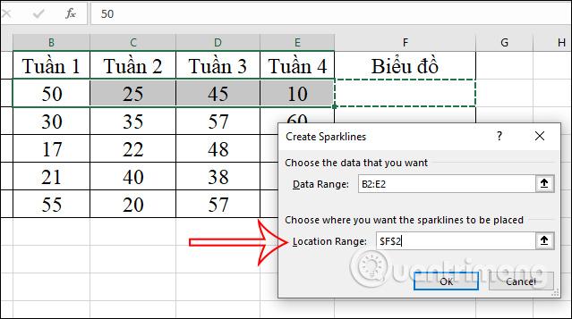 Cách tạo biểu đồ mini Sparklines trong Excel 2010, 2019 - Ảnh minh hoạ 2