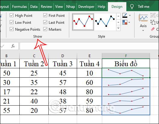 Cách tạo biểu đồ mini Sparklines trong Excel 2010, 2019 - Ảnh minh hoạ 8