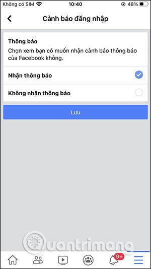 Bật thông báo qua Facebook