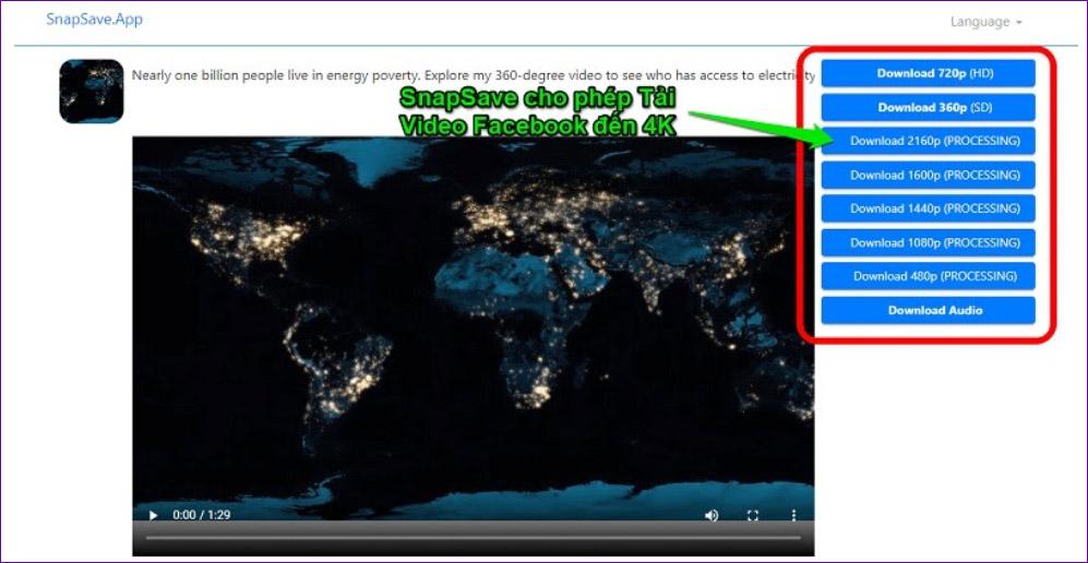 SnapSave.App cho phép Download video FB chất lượng lên đến 4K