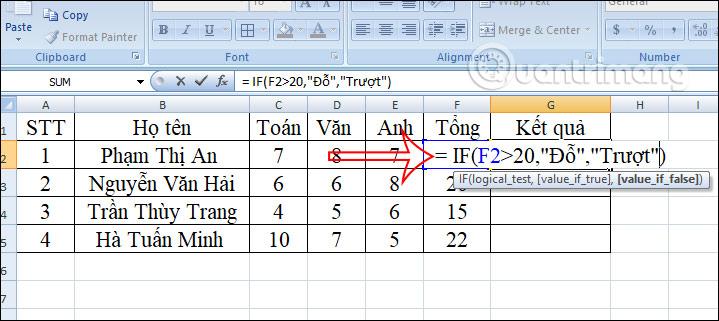 Hàm IF trong Excel: Cách dùng& ví dụ cụ thể
