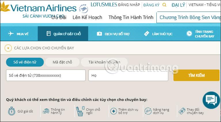 Cách kiểm tra vé máy bay VNA đã đặt