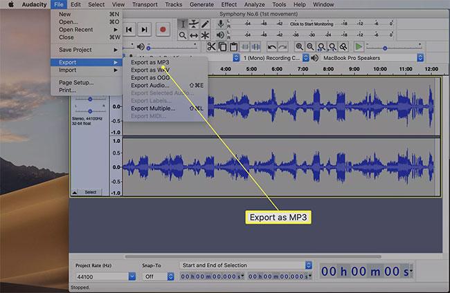 Nhấp vào Export as MP3