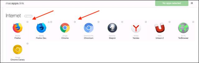 Chọn ứng dụng bạn muốn download
