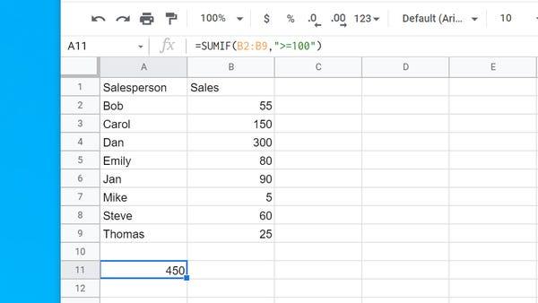 Cách sử dụng hàm SUMIF trong Google Sheets - Ảnh minh hoạ 2