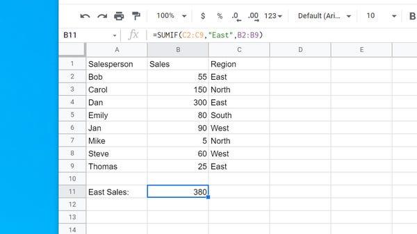 Cách sử dụng hàm SUMIF trong Google Sheets - Ảnh minh hoạ 4