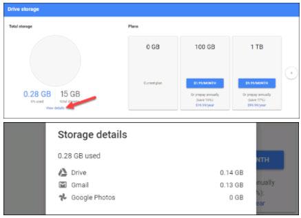 Thông kê dung lượng tài khoản Google