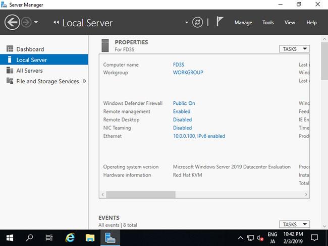 Các thay đổi sẽ được kích hoạt trên Server Manager