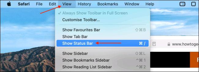 """Nhấn vào """"Show Status Bar"""""""