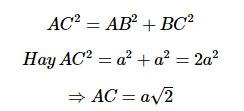 Áp dụng định lý Pytago cho tam giác vuông cân ABC