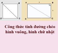 Công thức tính đường chéo hình vuông, đường chéo hình chữ nhật