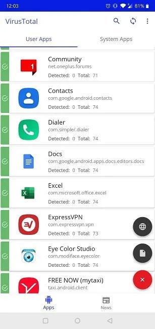 Ứng dụng VirusTotal di động