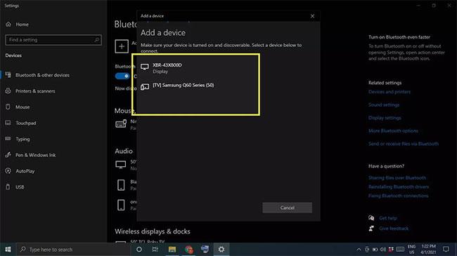 Đi đến Devices > More Bluetooth options
