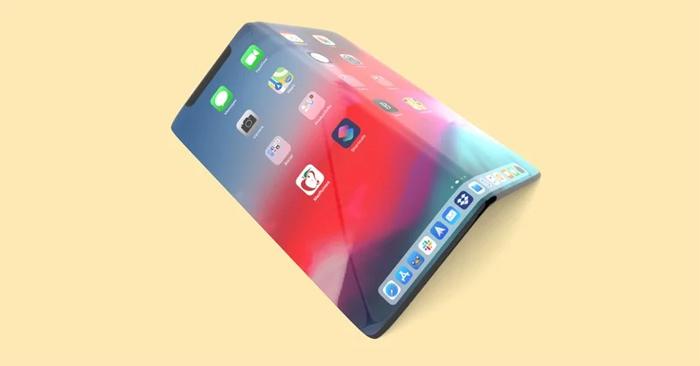 Hình ảnh chiếc iPhone có thể gập lại.