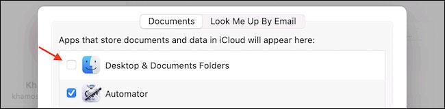"""Bỏ chọn tùy chọn """"Desktop & Documents Folders"""""""