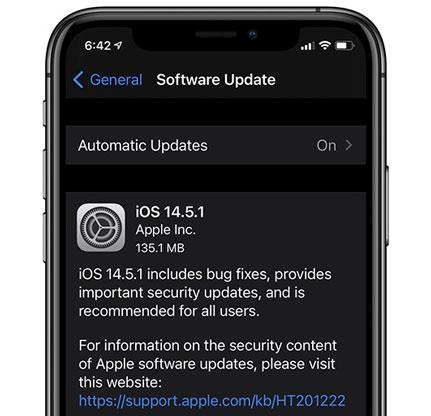 Bản cập nhật iOS 14.5.1
