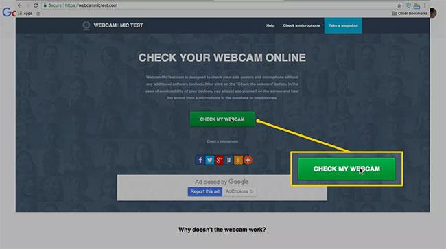 Nhấp vào nút Check My Webcam trên trang web