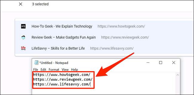 Danh sách đầy đủ các URL ở định dạng văn bản