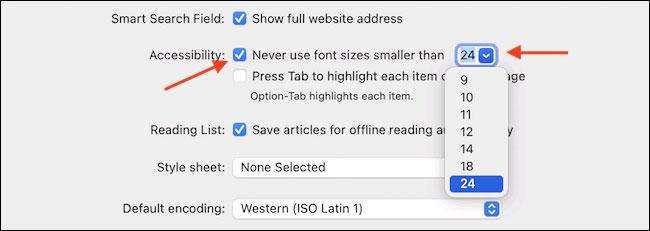 """Tích vào tùy chọn """"Never Use Font Sizes Smaller Than"""""""