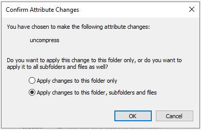Chọn đối tượng áp dụng việc nén file