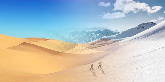 Hình ảnh chuyển từ sa mạc sang núi tuyết