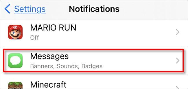 Bấm vào ứng dụng muốn t ắt thông báo