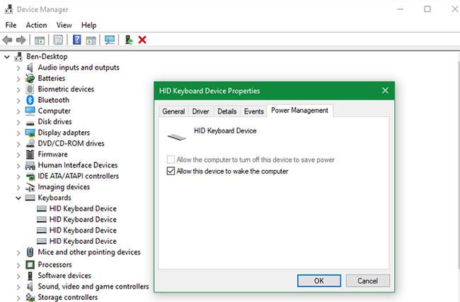 Đánh thức máy tính bằng bàn phím hoặc chuột trên Windows 10