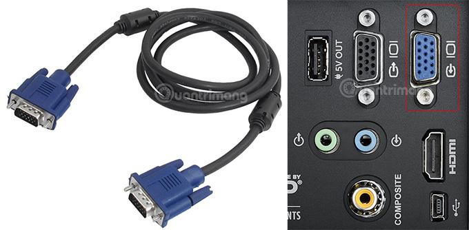 Dây cáp VGA và cổng VGA trên máy chiếu