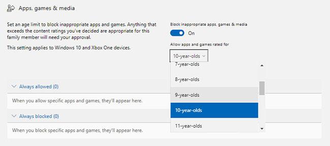 Đặt giới hạn độ tuổi cho ứng dụng, game và nội dung media