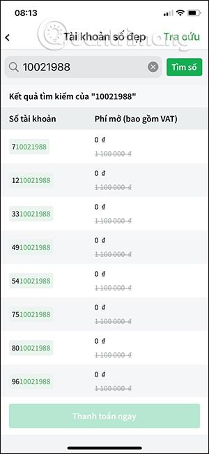 Chọn tài khoản VPBank số đẹp