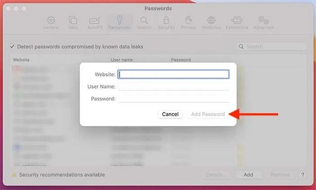 Nhập URL trang web cũng như thông tin đăng nhập tương ứng
