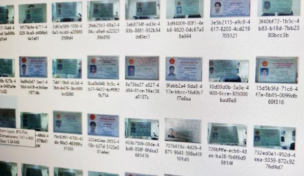 Một trong số các ảnh chụp CMND và CCCD của người Việt đang bị rao bán trên mạng.