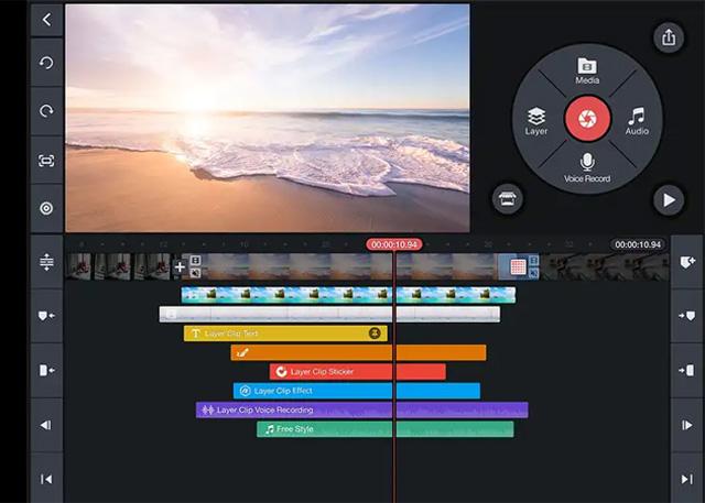Giao diện ứng dụng chỉnh sửa video KineMaster.