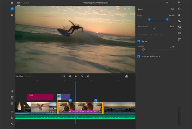 Giao diện ứng dụng chỉnh sửa video Adobe Premiere Rush.