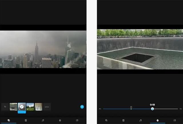 Giao diện ứng dụng chỉnh sửa video Quik.