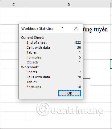 Cách xem Workbook Statistics trong Excel - Ảnh minh hoạ 2