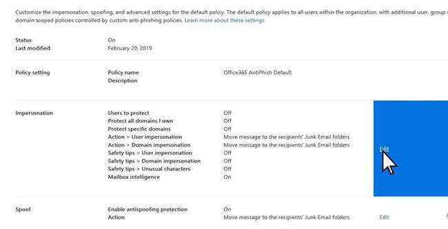 Tùy chỉnh tính năng chống phishing trong Microsoft 365