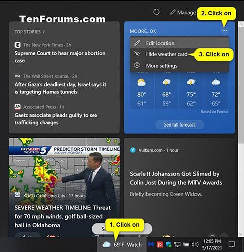 Xóa thẻ thông tin cho News and interests