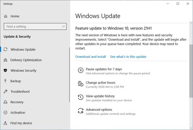 Windows 10 21H1 được phát hành