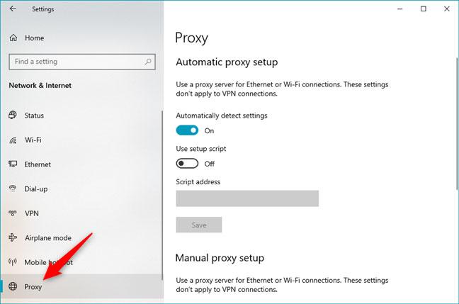 Cách cấu hình cài đặt proxy server trong Windows 10