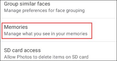 """Điều hướng đến phần """"Memories"""""""