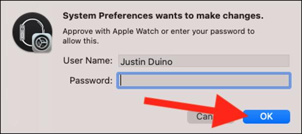 Nhập mật khẩu máy tính và bấm OK
