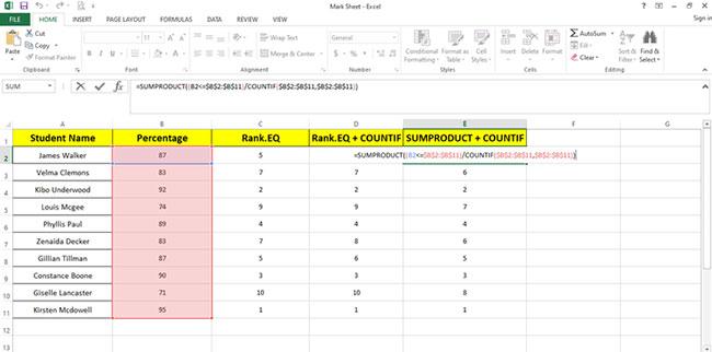 Cách sử dụng hàm RANK và SUMPRODUCT trong Excel với COUNTIF - Ảnh minh hoạ 2