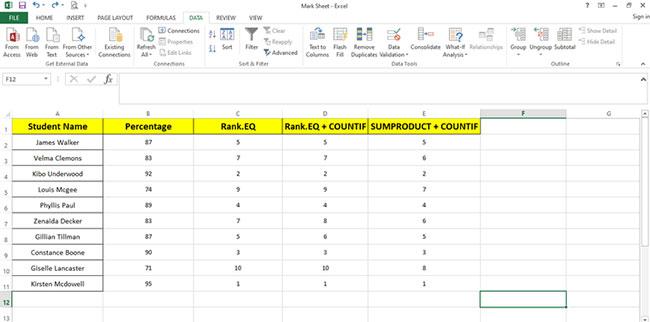 Cách sử dụng hàm RANK và SUMPRODUCT trong Excel với COUNTIF - Ảnh minh hoạ 3