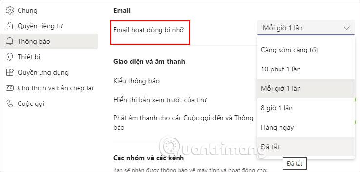 Tùy chỉnh thông báo email
